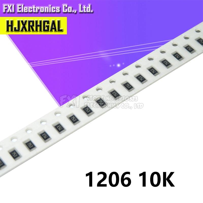 100 Uds 1206 SMD resistencia 10K ohm tipo chip 0,25 W 1/4W 103 original nuevo