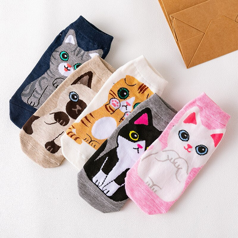 Calcetines Kawaii de dibujos animados Tide Cute Shiba Animal Bull Terrier Beagle calcetines cortos divertidas mujeres Casual medias cortas para hombre calcetín de algodón