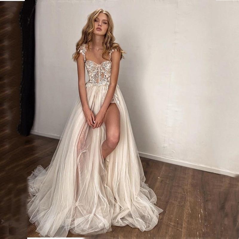 Verru-فستان زفاف مزين بالدانتيل وأشرطة سباغيتي ، فستان زفاف مثير ، فتحة جانبية عالية ، 2020