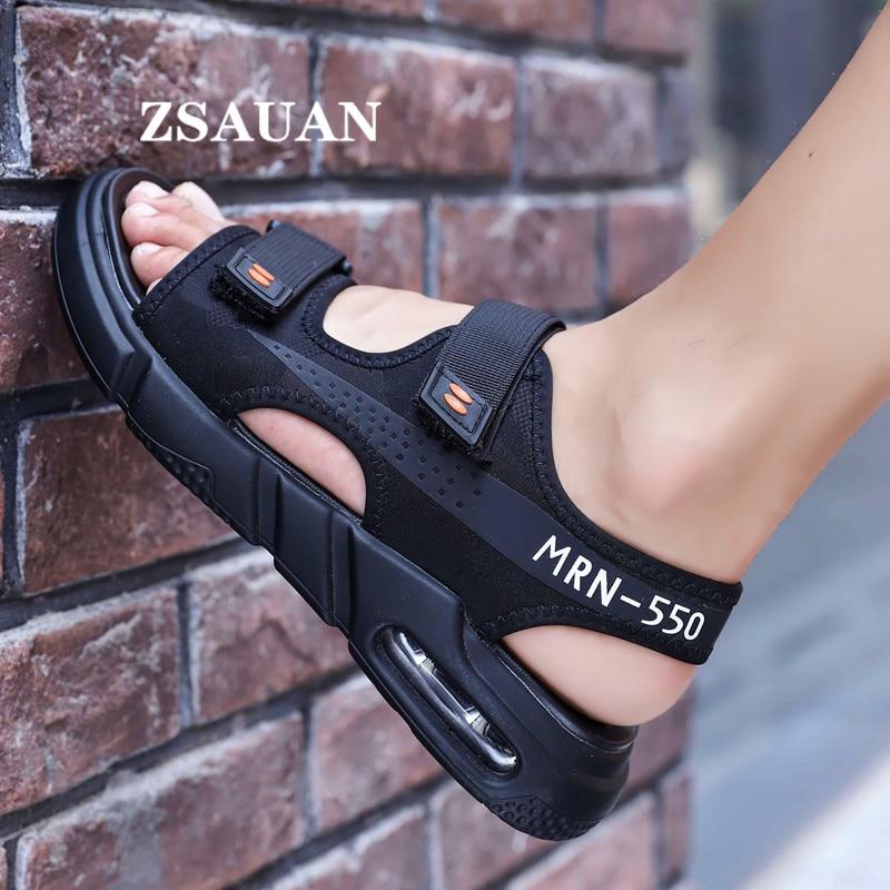 ZSAUAN Air High Cushion Sandals Men Casual Shoes Hook Loop Anti-slip Beach Fabric Comfortable Student Young Men Summer Shoes