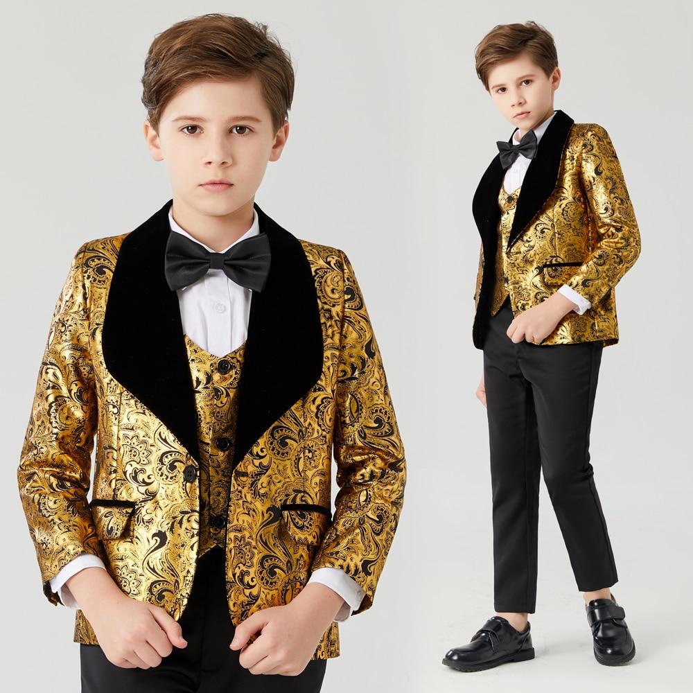 Boys wedding suits shawl lapel boys mens suits 3 piece Boy's Formal Wear slim fit  Boy Suit  Prom Suit (Jacket+Pants+Tie+Vest