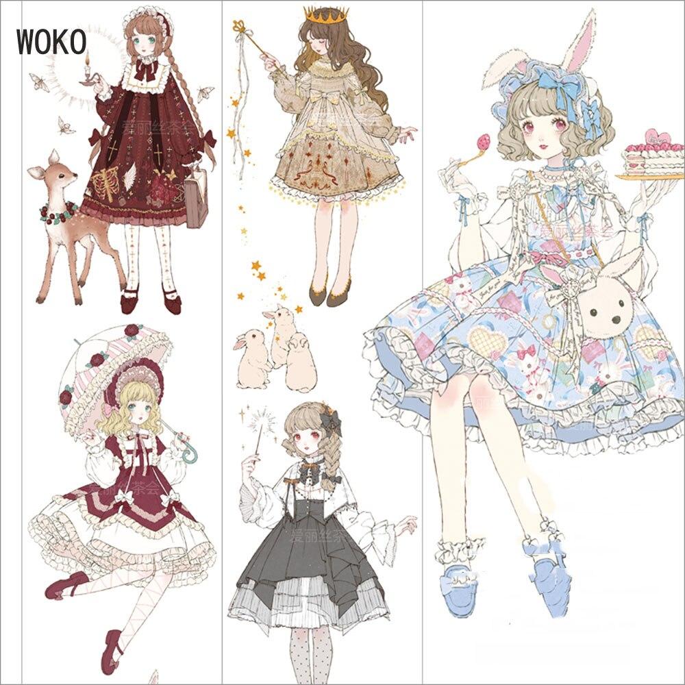 WOKO 58 мм * 5 м ретро юбка принцессы сказка девушка васи лента волшебный десерт девушка клейкая лента DIY Deco Скрапбукинг маскирующая лента