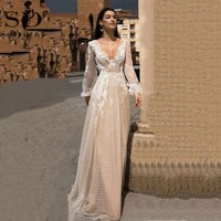 sodigne lace boho wedding dress sexy backless puff sleeves tulle vintage champagne wedding gown custom made bridal dress
