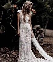 2021 New Style Cap Sleeve Sexy Backless V-Neck Sheath Lace Mermaid Wedding Dresses Vestidos De Novia Sweep Train