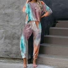2020 automne cravate colorant pyjama ensemble femmes vêtements de nuit ensemble de vêtements de nuit Pjs femmes pyjamas ensemble salon vêtements de nuit ensemble femmes vêtements de nuit