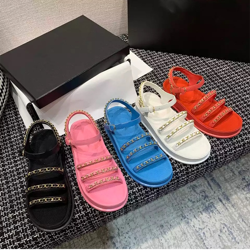2021 Thick Bottom Platform Sandals Women Narrowband Chain String Open Toe flat Sandals Summer Brand Casual beach Shoes Mujer