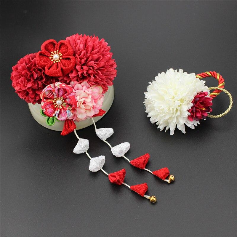 Un conjunto de flores Kanzhshi Clip de pelo con forma de crisantemo Kimono Yukata traje elegante rojo rosa Geisha accesorios para el cabello Hanfu HW078