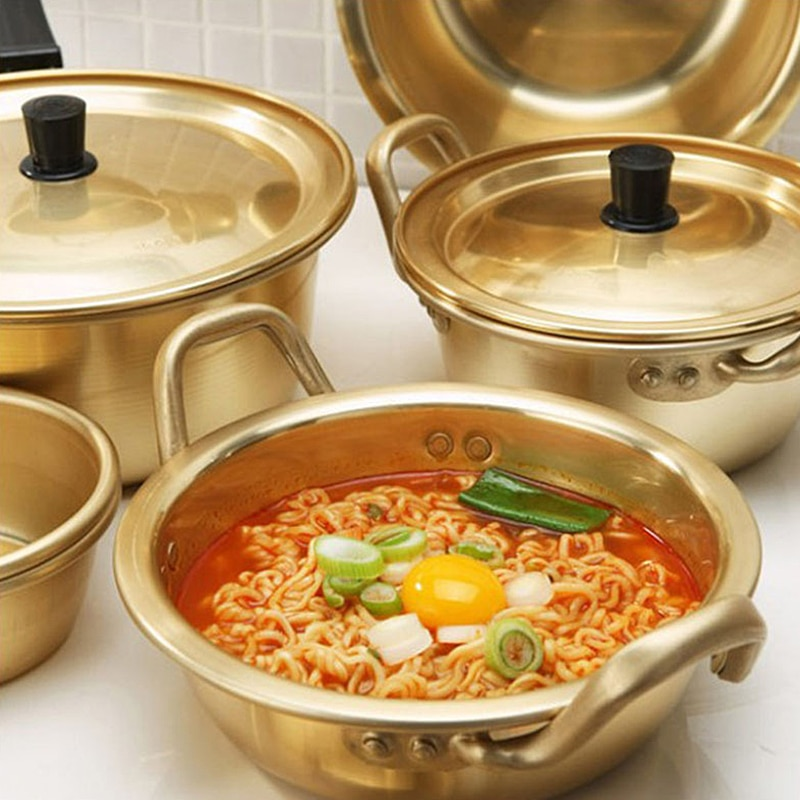 Golden Kitchen Cookware Creative Soup Pot Korean Noodles Aluminum Pot With Lid Noodles Milk Egg Cooking Pot breakfast Salad Bowl