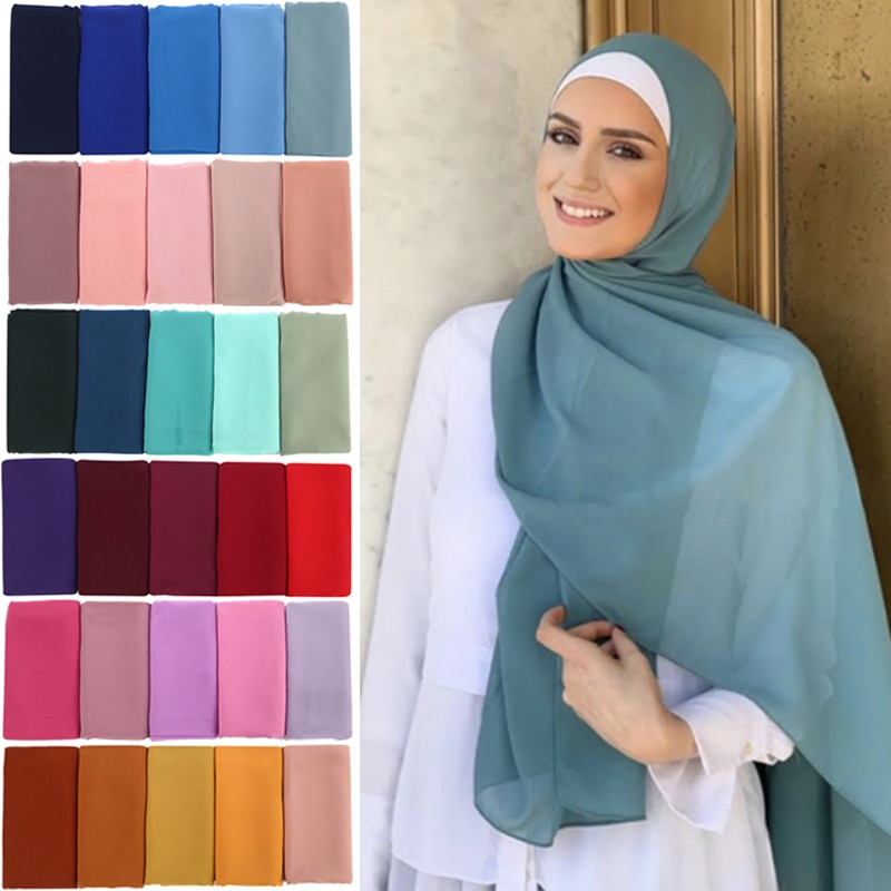 Muslim Bubble Chiffon Hijab Scarf Women Solid Color Soft Long Shawls and Wraps Georgette Islamic Hea
