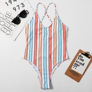 Sexy Sweet One Piece Swimsuit Female Bathing Suit Swimwear Women Swimsuits Fused Triped Floral Print Monokini