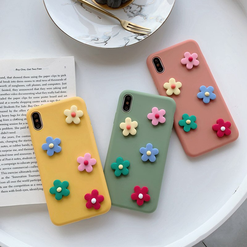 Funda de teléfono para Samsung Galaxy S7 S6 edge S8 Plus S9 S10 5G S10E Lite Note 4 5 8 9 bonita funda de silicona suave con flores 3D
