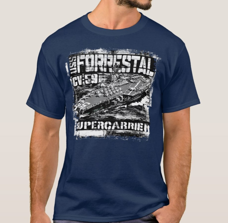 USS CV-59 Forrestal Aircraft Carrier T-Shirt. Summer Cotton Short Sleeve O-Neck Mens T Shirt New S-3XL artwox trumpeter 05607 u s cv 3 saratoga aircraft carrier wooden deck aw10120
