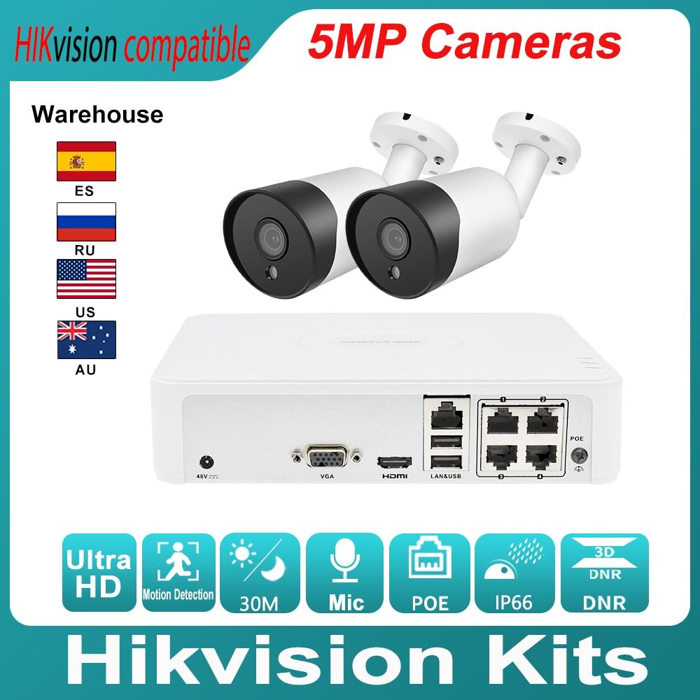 Hikvision متوافق مجموعات 2 قطعة 5MP POE IP كاميرا بولليت و Hikvision الأصلي NVR DS-7104NI-Q1/4P لتقوم بها بنفسك فيديو الأمن نظام الدائرة التلفزيونية المغلقة