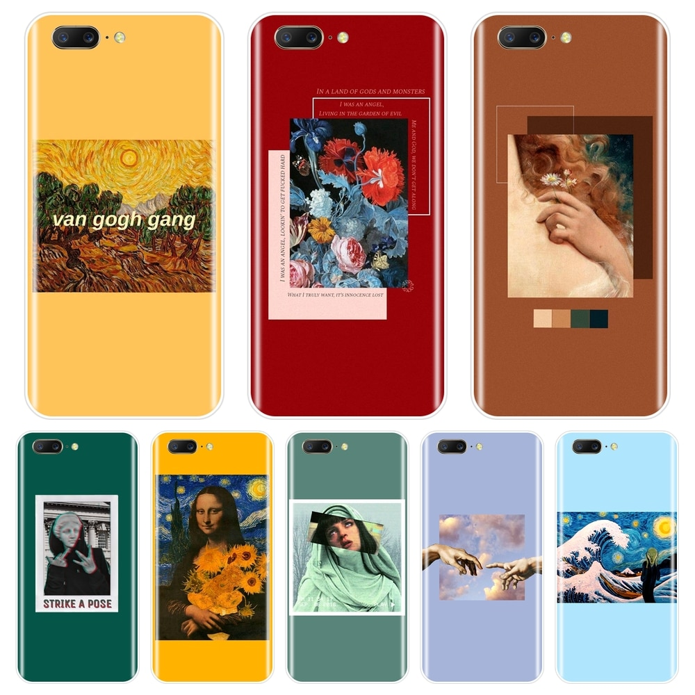 Funda trasera suave para One Plus 3 3T 5 5T 6 6T amarillo Van Gogh rojo arte Mona Lisa funda de teléfono de silicona para OnePlus 6 6T 5 5T 3 3T