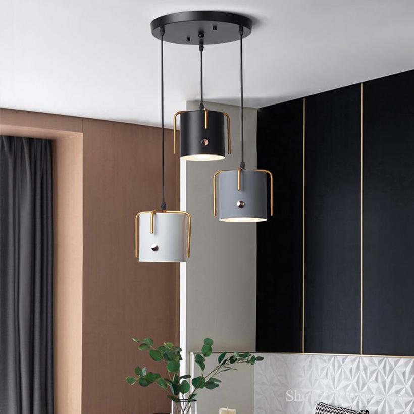 الشمال الحديد غرفة الطعام الثريا أضواء الحديثة بسيطة المطبخ مصابيح تعليق غرفة الطعام الإضاءة الصناعية مصباح ديكور المنزل