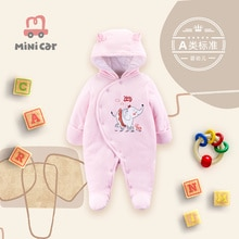 Baby one piece Romper girl baby winter heavy cotton jacket warm out cotton padded jacket with hat