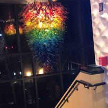 Couleur arc-en-ciel grande taille Murano Art pendentif lumières LED lustres en verre soufflé à la main
