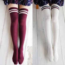 Sexy sexyStriped Long Socks Women Long Stockings Warm Thigh High Socks For Ladies Girls Over Knee Socks medias de mujer 2020