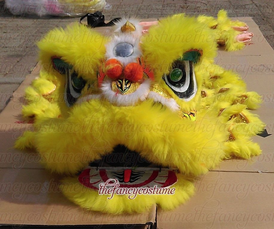 Yellow Lion Dance Costume  2 Player 8-12 Age Children Play Party Performance Sport Outdoor Parade Folk Parad Stage Mascot China