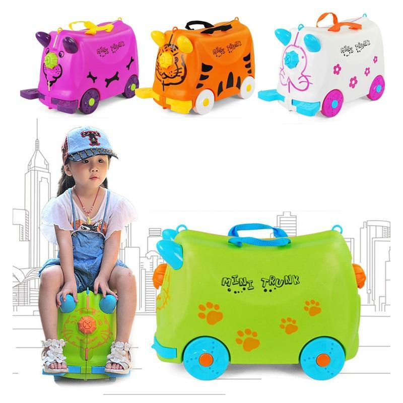 Fashion Travel Kids Luggage Stroller Multicolor Animal Modeling Suitcases Children Hard Case Suitcase White Green Child Storage