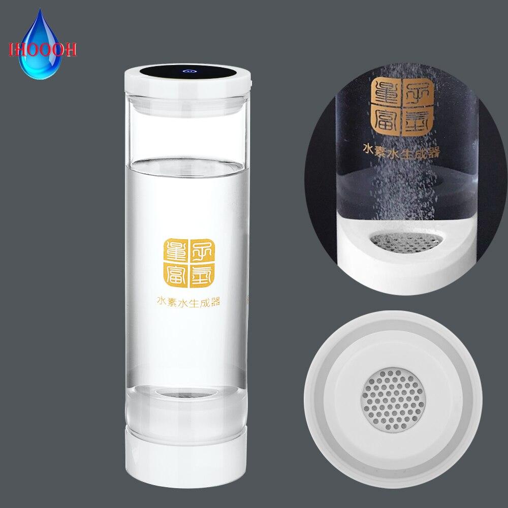 Portable Drinking Hydrogen Generator Bottle PEM Electrolysis Healthy Alkaline H2 Glass Water Cup Anti-Aging Improve Sleep 600ML