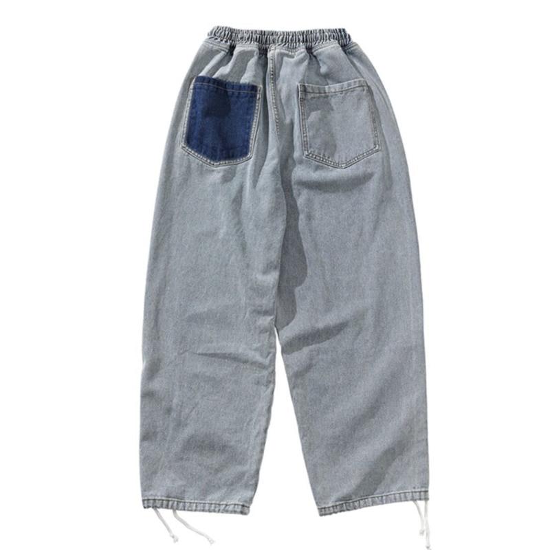 Korean Style Straight Jeans Men's Fashion Retro Drawstring Casual Jeans Men Streetwear Loose Hip Hop Denim Trousers Mens M-5XL