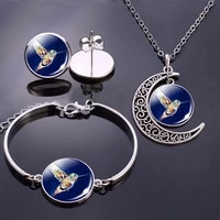 art painting jewelry sets peacock crescent moon necklace glass dome cabochon jewelry cartoon animal handmade pendant women gift