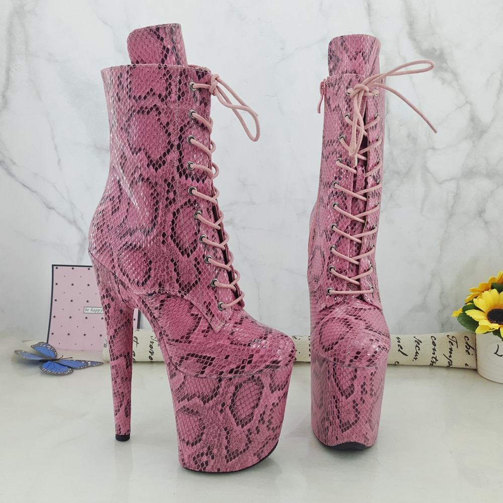 Leecabe Pink Snake 20CM/8inches Pole dancing shoes High Heel closed toe Pole Dance boots