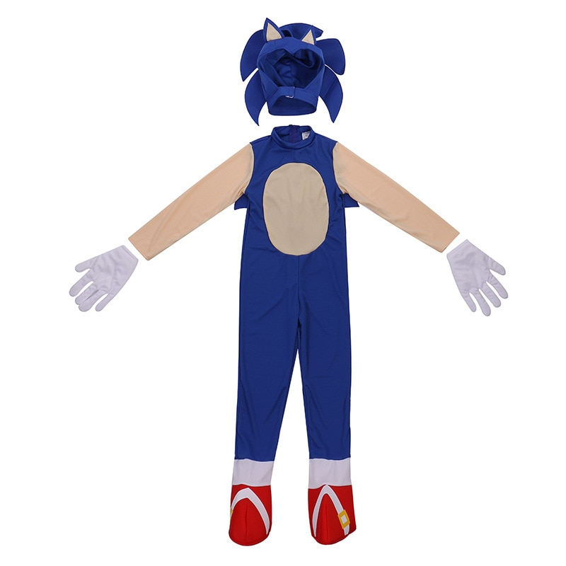 4-13Y Kids Anime Deluxe Soni The Hedgeho Costume Girl Game Character Cosplay Halloween Costume for K