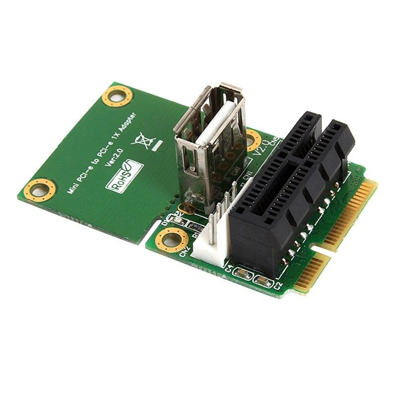 Mini PCI E to Pci Express 1X بطاقة الناهض مع USB LCD مهايئ لشاشة 4Pin امدادات الطاقة يدعم ارتفاع كامل نصف الارتفاع