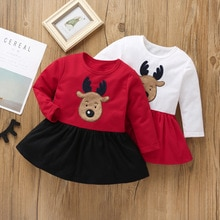 НОВАЯ РОЖДЕСТВЕНСКАЯ, Печать оленей для маленьких детей платье принцессы 2020 Рождество для малышей, для маленьких девочек, Рождественская о...