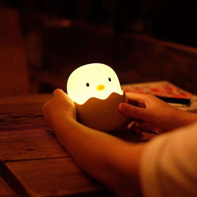 سيليكون قشر البيض الدجاج بهلوان سيليكون patting ضوء دافئ إضاءة ليد ليلية شحن ذكي مصباح لجهاز الاستشعار للأطفال bedsi