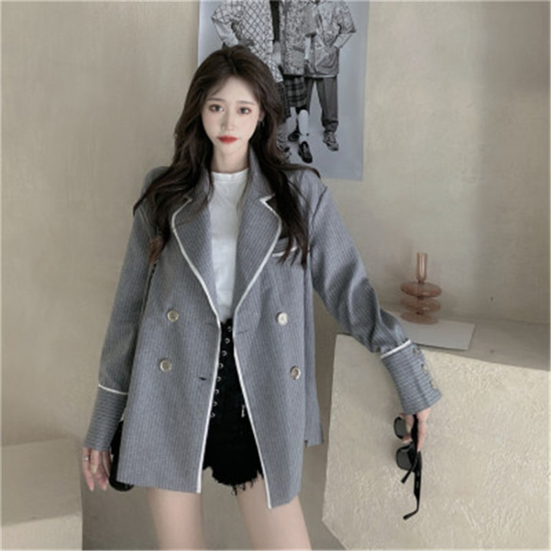RUGOD 2020 New Arrivals Korean Style Striped Casual Autumn Suit for Ladies Long Sleeve Female Outfit Fashion Womens Outwear