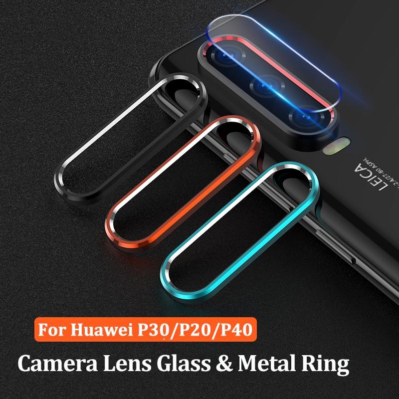 Lente de cámara de cristal templado para Huawei P30 P40 P20 Lite Pro, anillo de Metal y Protector de pantalla para Huawei P 40 30 Lite