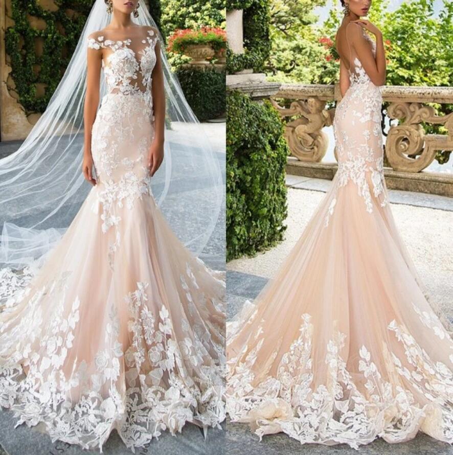 براقة الوردي صغيرتي حورية البحر زي العرائس الدانتيل زين فستان الزفاف ضئيلة