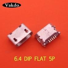500 шт./лот 5Pin 6,4 мм Micro USB 5pin DIP гнездовой разъем для мобильного телефона Mini USB jack PCB сварочная розетка плоский рот