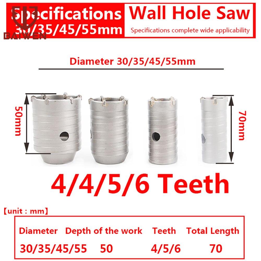 30-160mm SDS Plus mur trou scie foret outils de coupe avec arbre rond béton ciment pierre trou ouvre-outil de marteau électrique