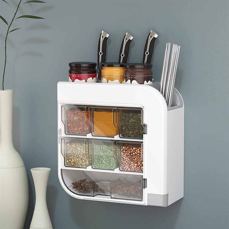 رف مطبخ ABS جدار معلق سكين توابل تخزين منظم متعدد الوظائف المنزلية سطح المكتب حامل أواني مصنوع من خشب الخيزران رف