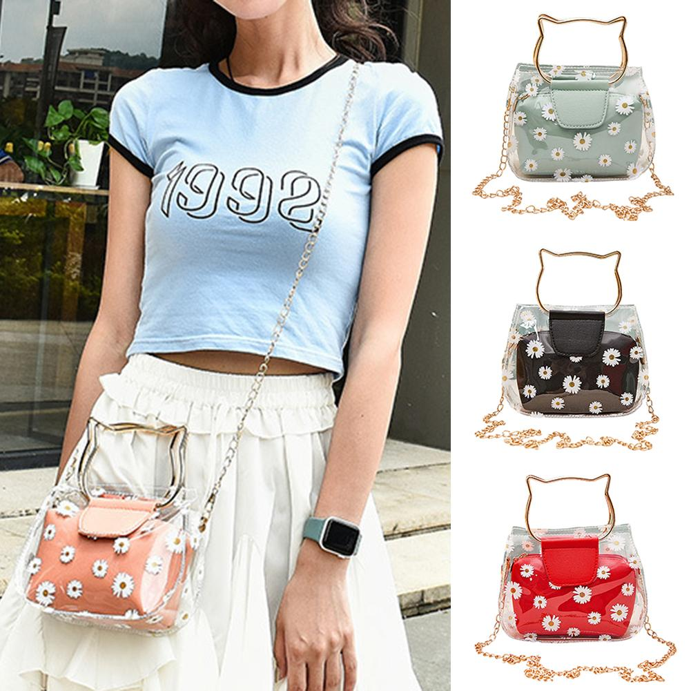 Creative Cats Ear Tote Bag Fashion Women Marguerite Clear Chain Jelly Tote Bag Crossbody Shoulder Po