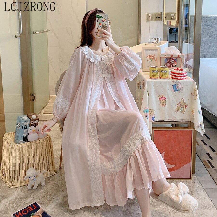 طقم روب نسائي من القطن ذو تصميم الأميرات بتصميم عتيق من الدانتيل الأبيض ملابس نوم طويلة للبنات ملابس منزلية ثوب نوم نسائي ربيعي 2021