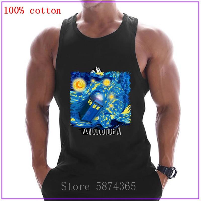 Doctor who Caja de teléfono azul en Starry la noche Tank Tops hombres sin mangas Camiseta de culturismo Fitness Stringer chaleco