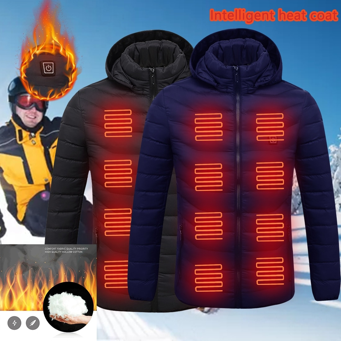 Mens Heated Outdoor Parka Coat USB Electric Battery Heating Hooded Jackets Warm...