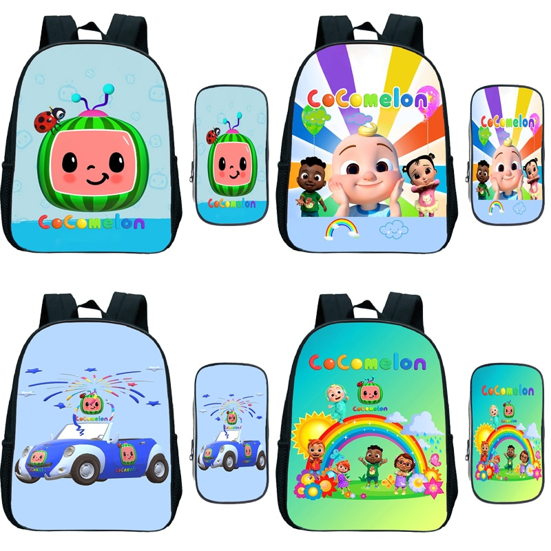 Toddler Cocomelon Kindergarten Backpack Pen Bag 2pcs Set Children Anime Rucksack Kids Cartoon Knapsa