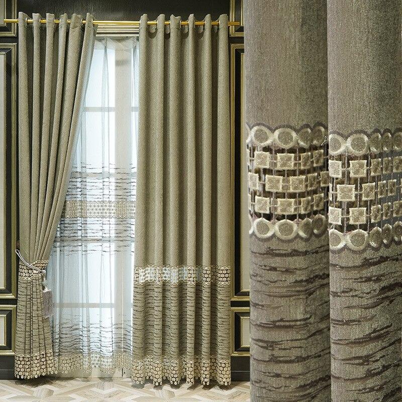 Cortina nórdica de chenilla, cortina bordada hueca Soluble en agua, para sala...