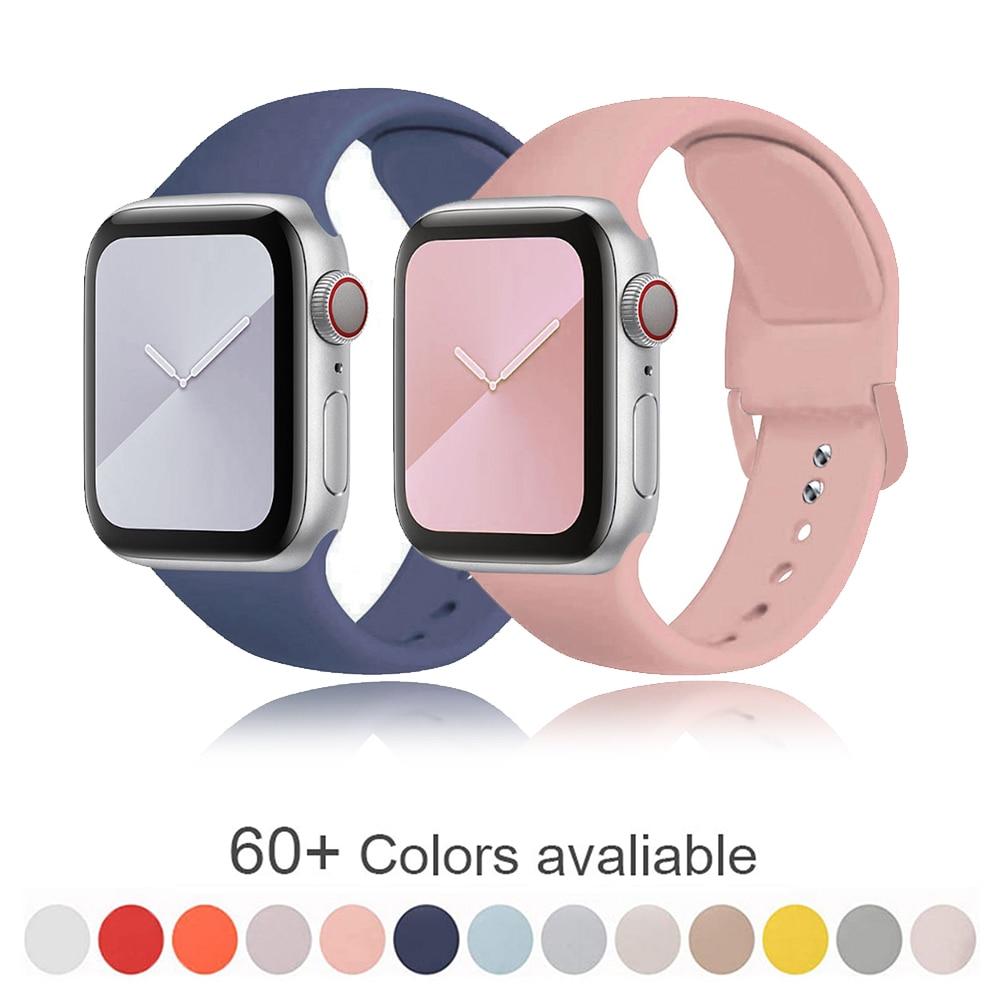 Banda de silicona suave para Apple Watch Serie 6 iPhone 5 4 3 2 1 38MM 42MM correa de goma Correa iWatch 4/5 40MM 44MM