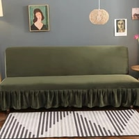 sofa bed cover elastic fiber fabric solid color olive green full cover sofa cover with skirt living room stretch sofa covers