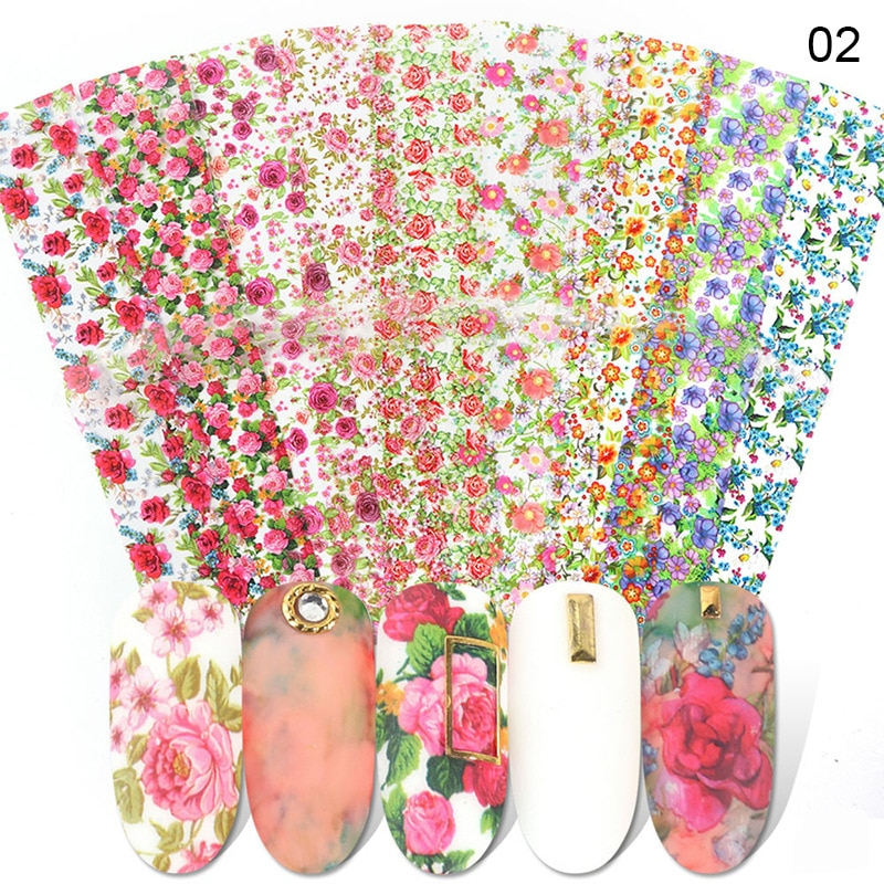 1pcs colorful foil plants Adhesive Colorful Rose Flowers Designs 10pcs Foil Decal Nail Art Sticker Nail Transfer Foil Colorful Tropical Leaves Manicure