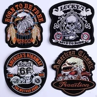 punk eagle paw live to ride skull embroidery patches for clothing iron on clothes biker motorcycle applique badge stripe sticker