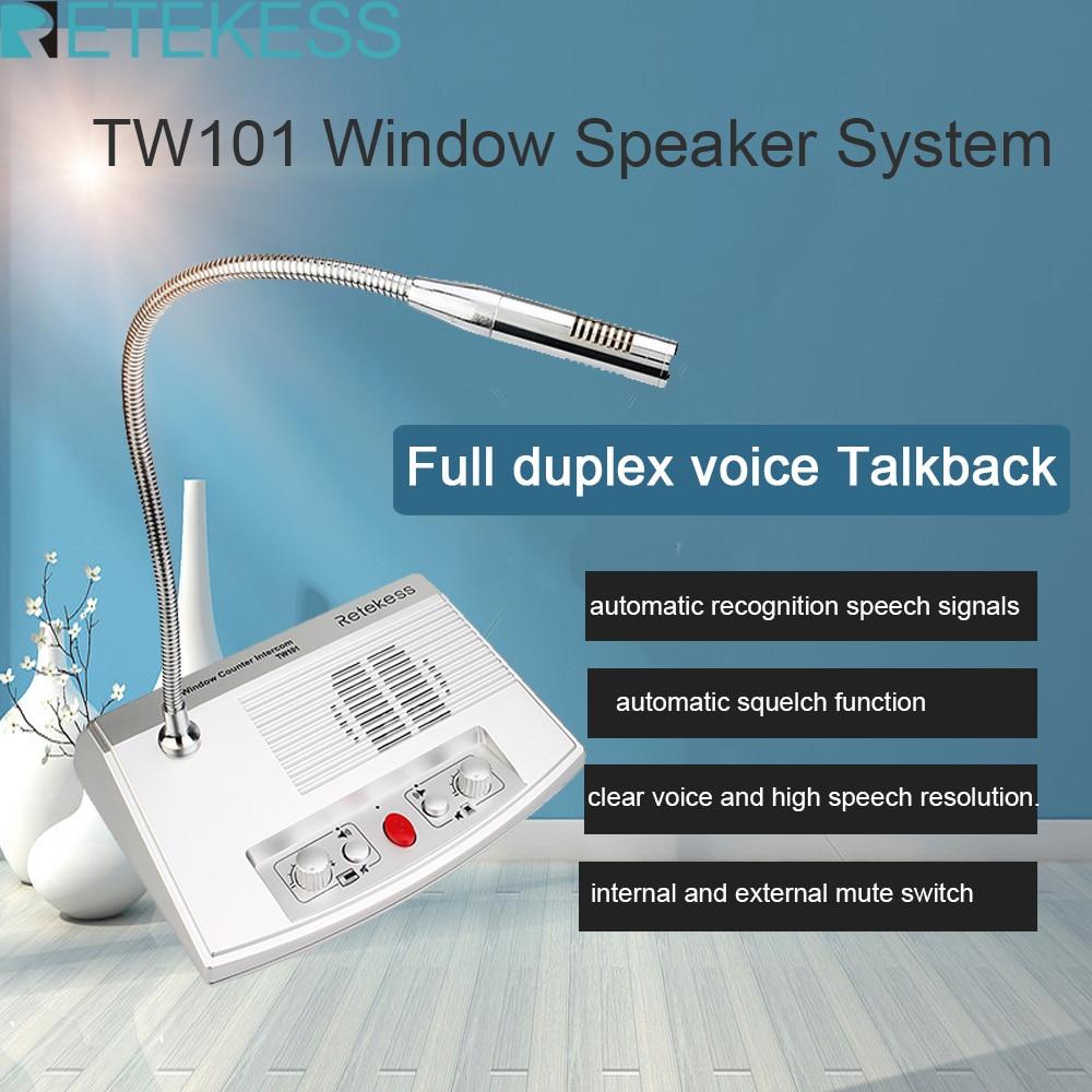 e361 black bank equipment wireless intercom for in and out window Retekess TW101 3W 2 Way Window Intercom System Interphone Bank Speaker for Restaurant Office Pharmacy Station Hall Clinic