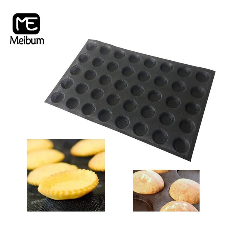 Black Porous 40 Cavity Silicone Mold Hamburger Cookie Puff Mould Round Bread Cake Tart Pan Non Stick Bakeware Baking Tool